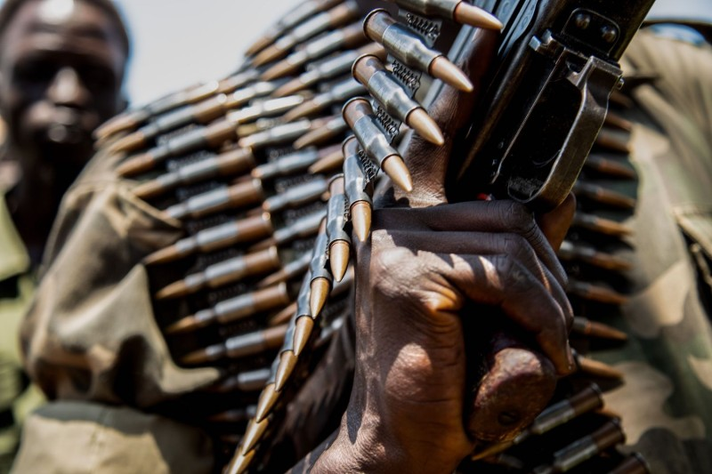 South Sudanese anti-government forces display ammunition which they say was confiscated from government forces during fighting in September, in Panyume, South Sudan. (Sumy Sadurni/AFP/Getty Images)