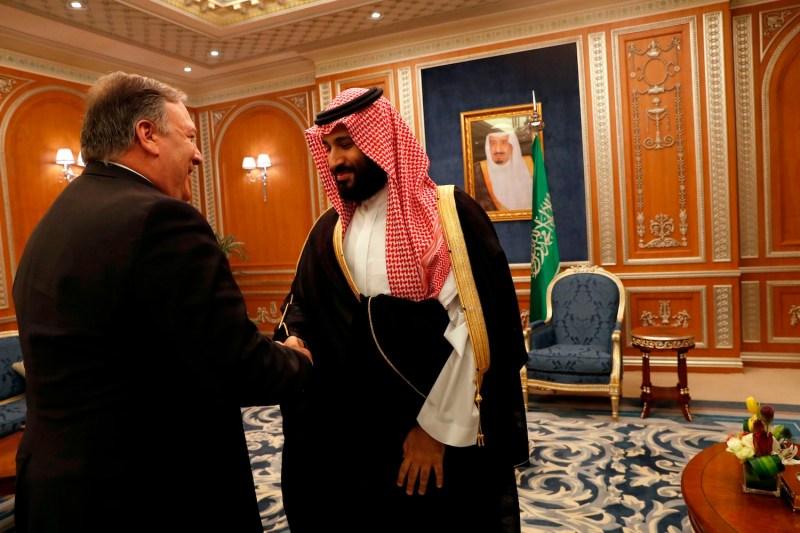U.S. Secretary of State Mike Pompeo meets with Saudi Crown Prince Mohammed bin Salman in Riyadh, Saudi Arabia, on Oct. 16. (Leah Millis/AFP/Getty Images)