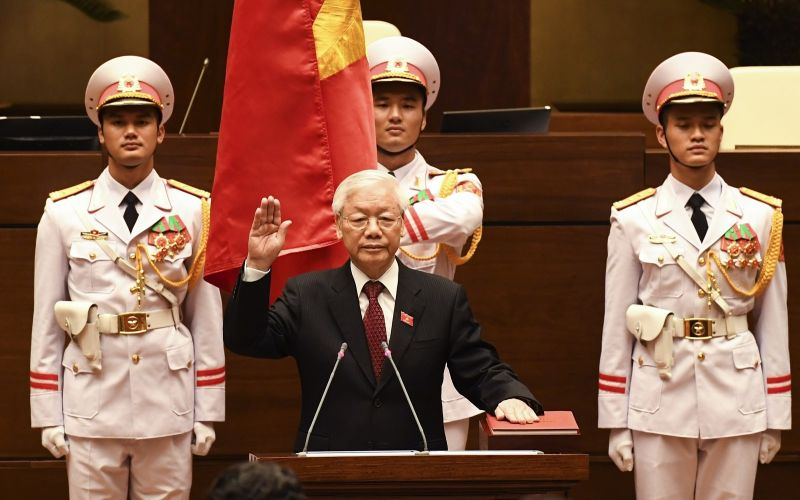 Vietnam communist party chief Nguyen Phu Trong takes the presidential oath at the National Assembly hall in Hanoi on October 23, 2018.(/AFP/Getty Images)