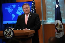 U.S. Secretary of State Mike Pompeo speaks to press at the State Department in Washington on Oct. 23. (Alex Wong/Getty Images)