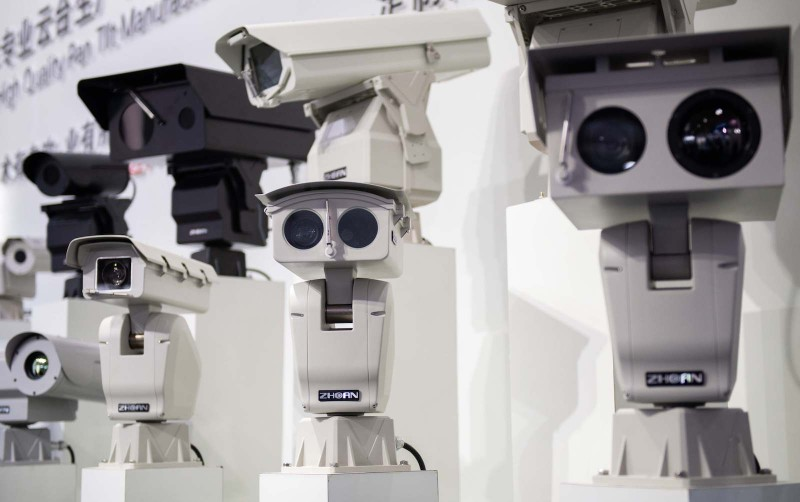 AI (Artificial Inteligence) security cameras using facial recognition technology are displayed at the 14th China International Exhibition on Public Safety and Security at the China International Exhibition Center in Beijing on October 24, 2018. (NICOLAS ASFOURI/AFP/Getty Images)