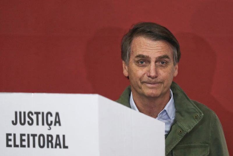 Jair Bolsonaro, the president-elect of Brazil, casts his vote in Rio de Janeiro on Oct. 28. (Ricardo Moraes-Pool/Getty Images)