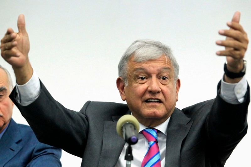 Mexican President-elect Andrés Manuel López Obrador at a press conference in Mexico City on Oct. 29. (Ulises Ruiz /AFP/Getty Images)