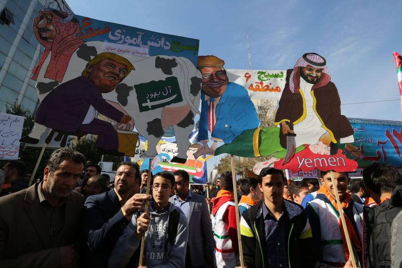 Iranians protest renewed U.S. sanctions in Tehran on Nov. 4. (Atta Kenare/AFP/Getty Images)