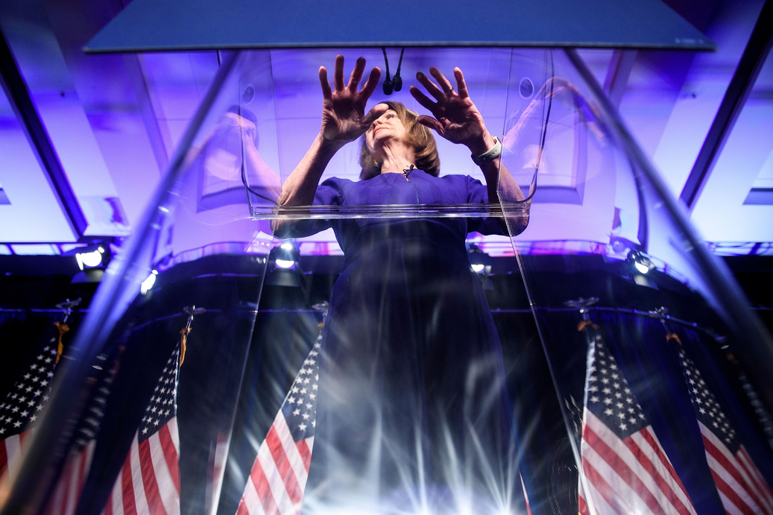 House Minority Leader Nancy Pelosi speaks during a midterm election night party hosted by the Democratic Congressional Campaign Committee in Washington on Nov. 6. BRENDAN SMIALOWSKI/AFP/Getty Images