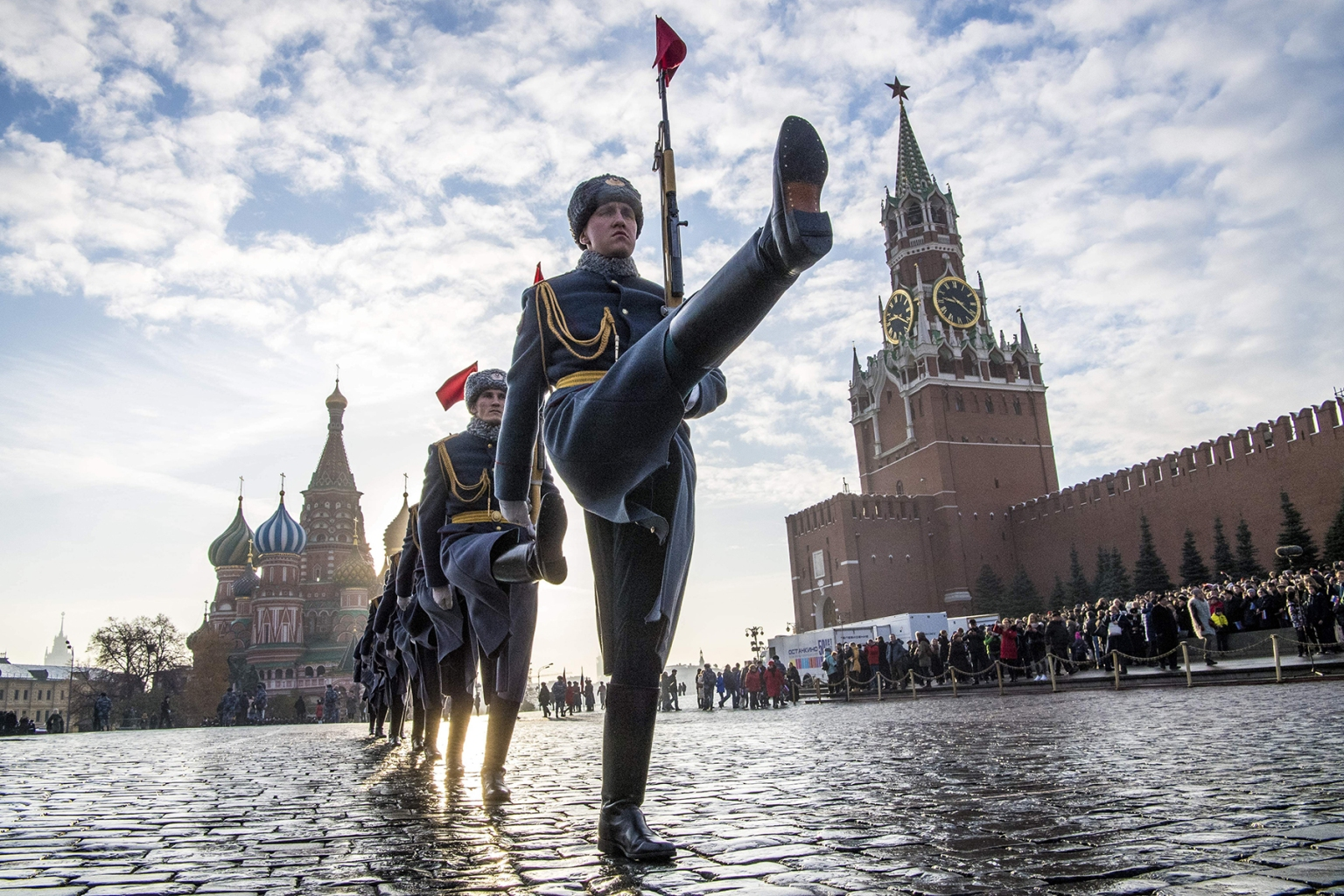 Russian honor guards march during a military parade at Red Square in Moscow on Nov. 7. Russia marked the 77th anniversary of the 1941 parade, when Red Army soldiers marched past the Kremlin walls toward the front line to fight Nazi Germany troops during World War II. MLADEN ANTONOV/AFP/Getty Images
