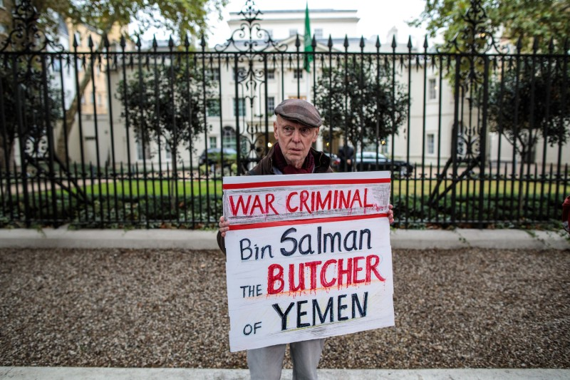 A protester demonstrates against the war in Yemen and the killing of journalist Jamal Khashoggi outside the Saudi Embassy in London on Oct. 25. (Jack Taylor/Getty Images)