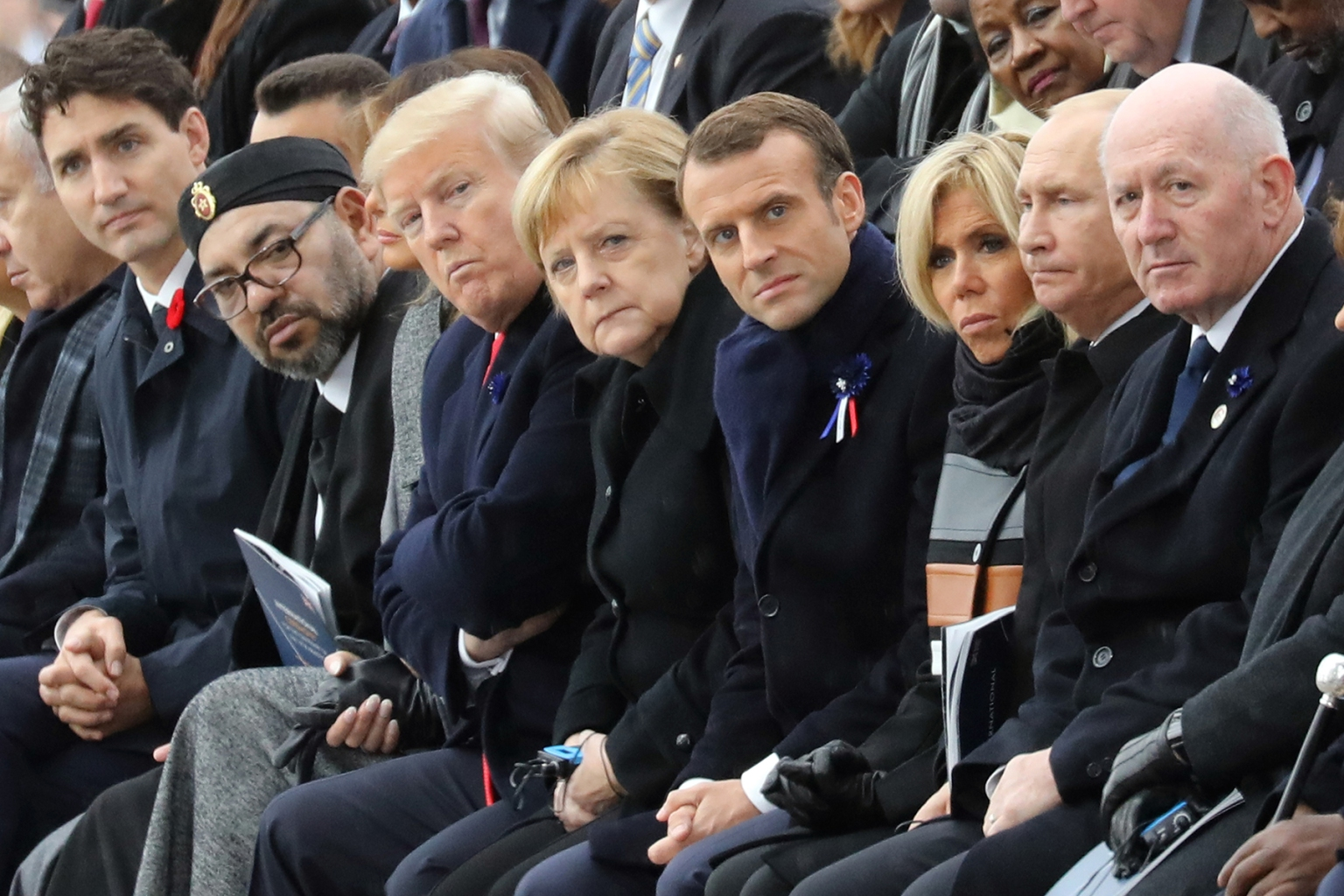 World leaders attend a ceremony at the Arc de Triomphe in Paris on Nov. 11 as part of commemorations marking the 100th anniversary of the Nov. 11, 1918, armistice, ending World War I. LUDOVIC MARIN/AFP/Getty Images