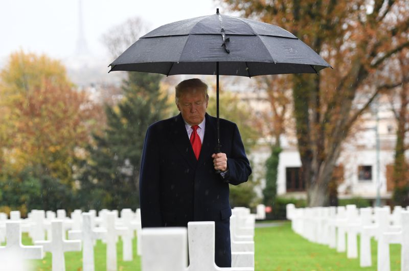 U.S. President Donald Trump takes part in a ceremony commemorating the 100th anniversary of the armistice ending World War I at the Suresnes American Cemetery outside Paris on Nov. 11. (Saul Loeb/AFP/Getty Images)