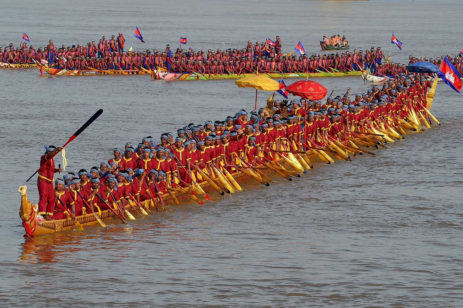 The world's longest dragon boat carrying 179 rowers sails along the Mekong river during a ceremony in Prey Veng province, Cambodia, on Nov. 12. TANG CHHIN SOTHY/AFP/Getty Images