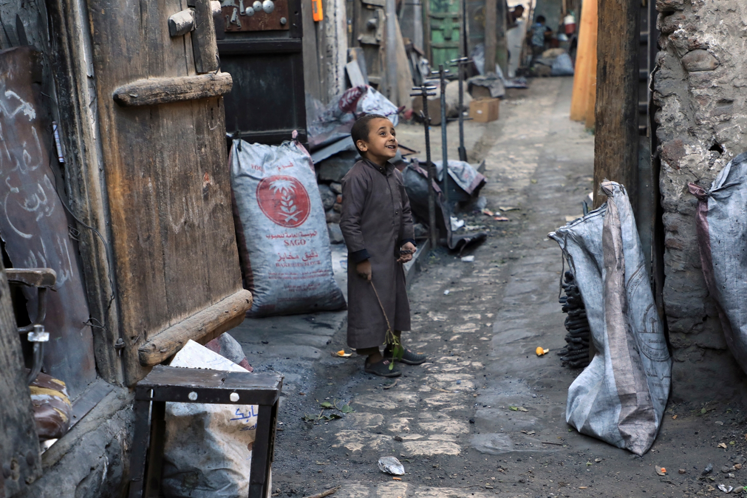 A Yemeni child plays in Sanaa's old city on Nov. 13. MOHAMMED HUWAIS/AFP/Getty Images