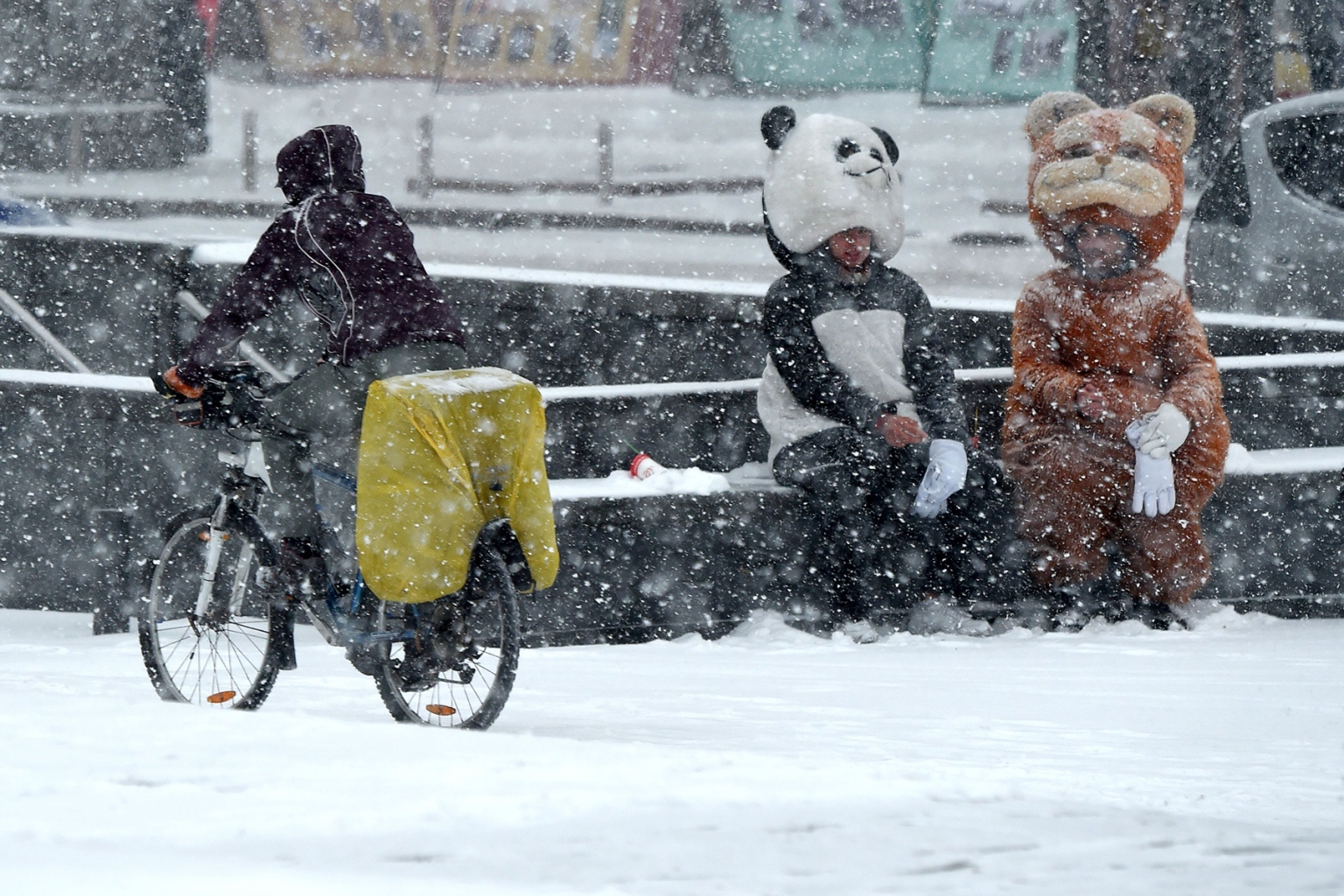 A cyslist rides past people wearing animal costumes during heavy snowfall, the first in the autumn, in the center of Kiev, Ukraine, on Nov. 14. SERGEI SUPINSKY/AFP/Getty Images