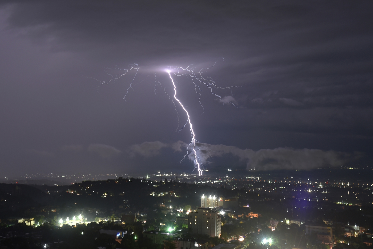 Lightning strikes over Port-au-Prince, Haiti, during a storm on Nov. 14. HECTOR RETAMAL/AFP/Getty Images