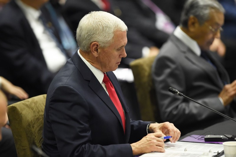U.S. Vice President Mike Pence at the ASEAN summit in Singapore on Nov. 15. (Roslan Rahman/AFP/Getty Images)