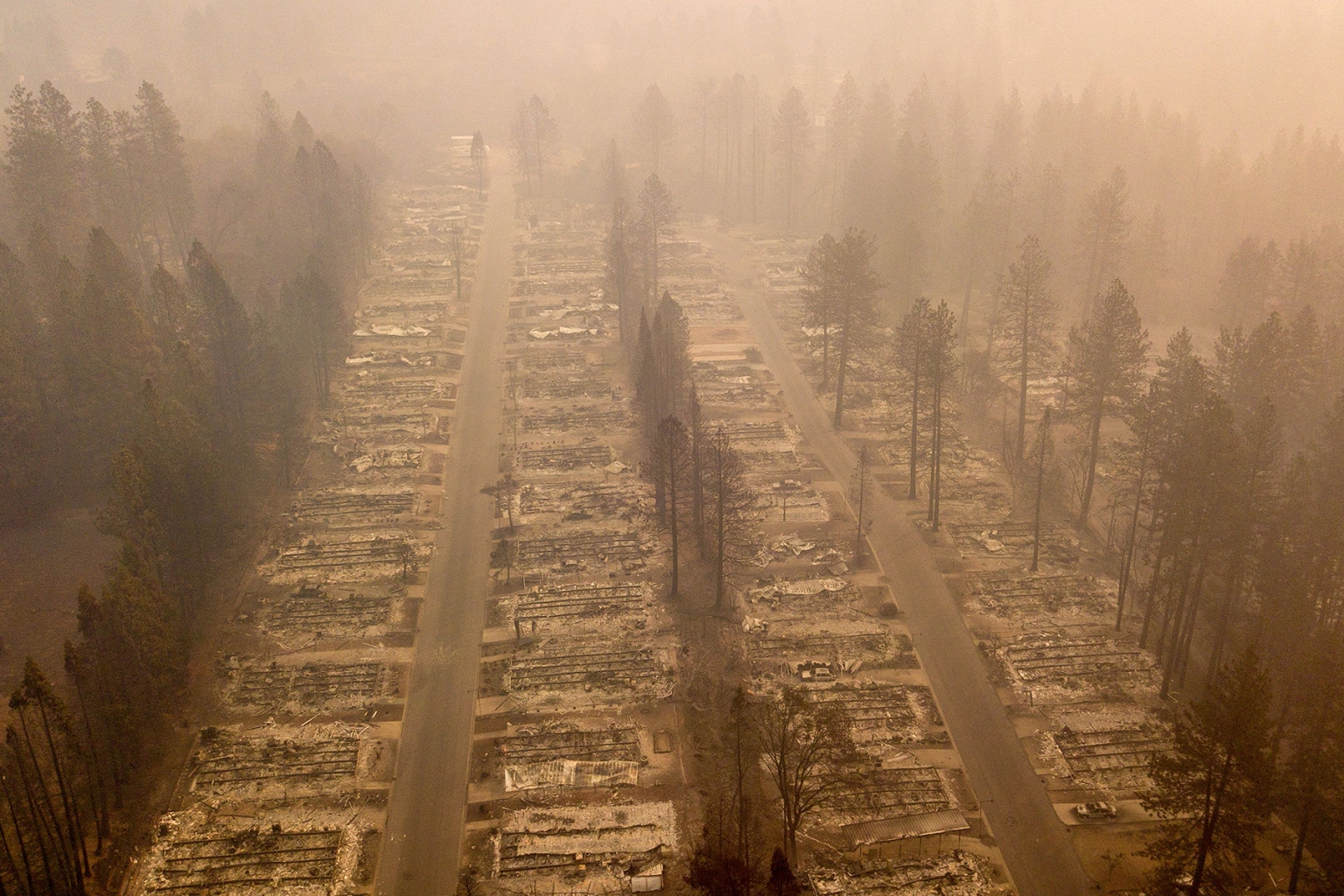 A burned neighborhood is viewed from above in Paradise, California, after the Camp Fire on Nov. 15. The toll in the deadliest wildfires in recent California history climbed to 63 on Nov. 15, with the list of missing rising above 600. JOSH EDELSON/AFP/Getty Images