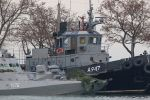 Two of the Ukrainian vessels seized by Russia on Sunday pictured near Kerch, Crimea on Nov. 26. (STR/AFP/Getty Images)