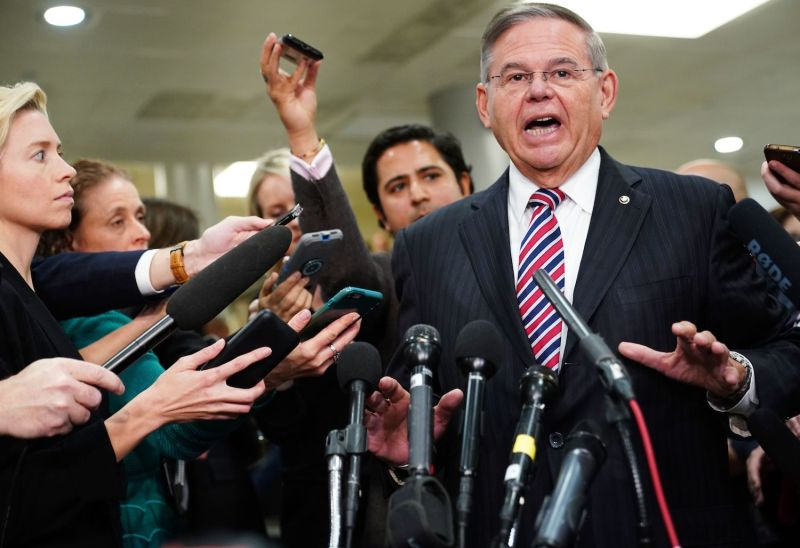 Sen. Bob Menendez (D-N.J.) speaks to reporters following a closed-door briefing on Saudi Arabia at the U.S. Capitol in Washington, D.C. on Nov. 28. (Mandel Ngan/AFP/Getty Images)