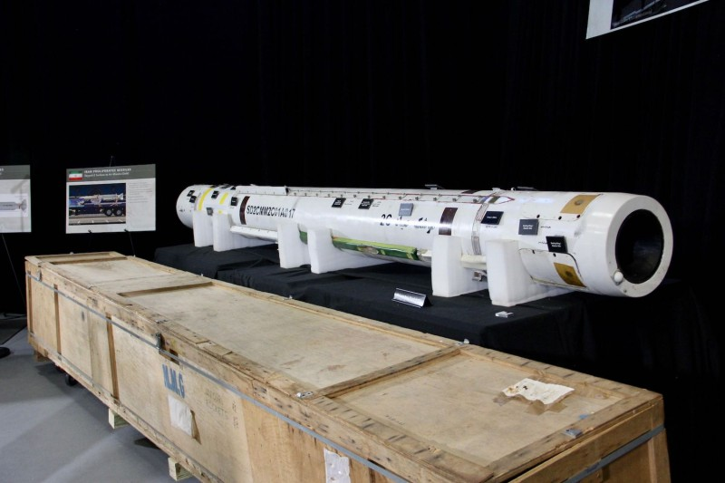 The US military displays what it says is a Iranian Sayyad-2 surface-to-air missile, at Joint Base Anacostia-Bolling in Washington on Nov. 29. (Thomas Watkins/AFP/Getty Images)
