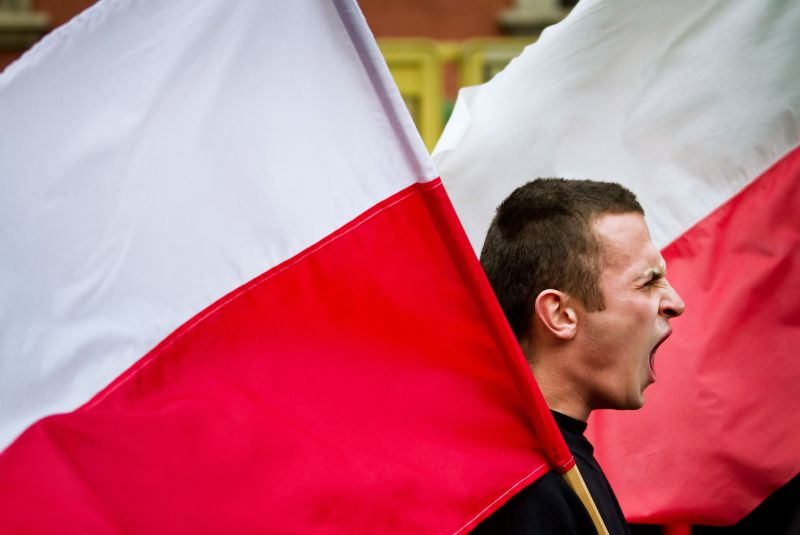 A Polish ultranationalist waits for the beginning of a demonstration in Warsaw on Nov. 11, 2010. (Wojtek Radwanski/AFP/Getty Images)