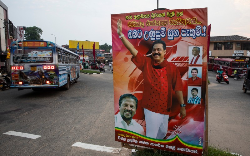Giant posters of acting prime minister Mahinda Rajapaksa are seen in his home town on November 14, 2018  in Tangalle, Sri Lanka. (Paula Bronstein/Getty Images)