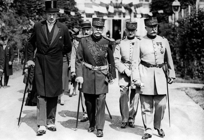 French War Minister Andre Maginot, Marshal Joseph Joffre, and Marshal Philippe Petain at the inauguration of Joffre's monument in Chantilly, France on June 21, 1930. (AFP/Getty Images)