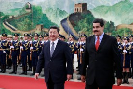 Venezuelan President Nicolás Maduro walks with Chinese President Xi Jinping in the Great Hall of the People in Beijing on Jan. 7, 2015. (Andy Wong/Getty Images)