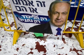 Copies of ballots and campaign posters for Israeli Prime Minister Benjamin Netanyahu's Likud party in Tel Aviv on March 18, 2015. (Jack Guez/AFP/Getty Images)