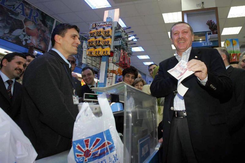 Turkish President Recep Tayyip Erdogan shops in the Black Sea town of Safranbolu on Jan. 1, 2005. (Hakan Goktepe/AFP/Getty Images)