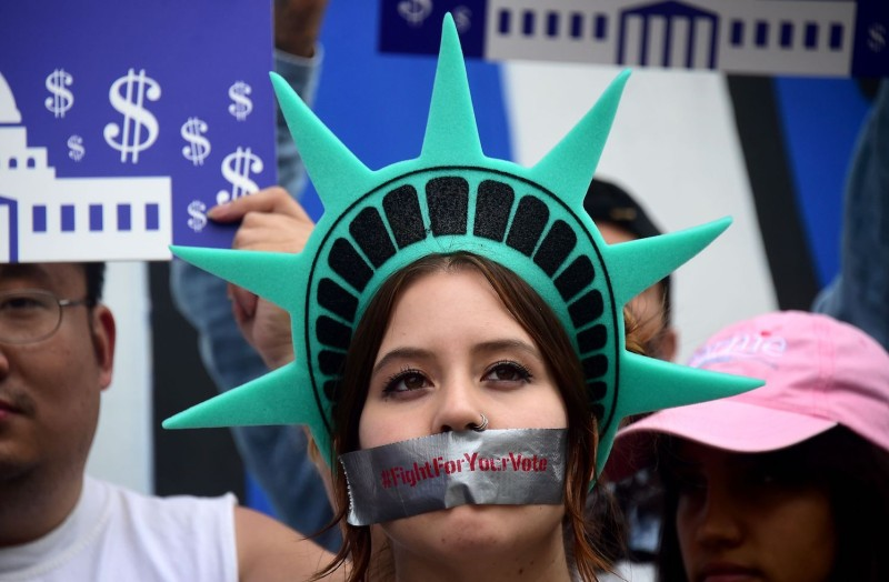Democratic presidential candidate Bernie Sanders supporters rally in Los Angeles on May 19, 2016, to bring attention to voter suppression in Nevada. (Frederic Brown/AFP/Getty Images)