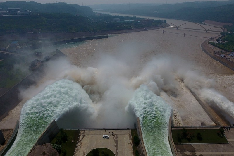 Water is released from the floodgates of the Xiaolangdi dam on the Yellow River near Luoyang, China on June 29, 2016. (STR/AFP/Getty Images)