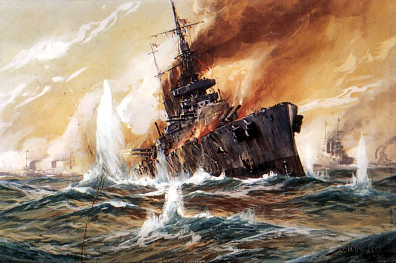 A painting of the World War I Battle of Jutland shows the sinking hit of the British battlecruiser HMS Indefatigable shortly before its explosion on May 31, 1916. (Willy Stöwer/ullstein bild via Getty Images)
