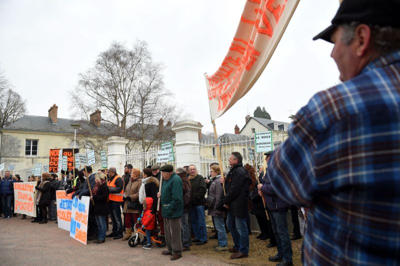Demonstrators gather outside a deradicalization center in Pontourny, France, the country's first Center for Prevention, Integration, and Citizenship on February 11, 2017 during a protest demanding its closure.