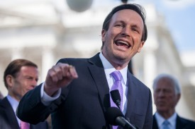 Sen. Chris Murphy speaks on Capitol Hill in Washington on May 3, 2017. (Zach Gibson/Getty Images)