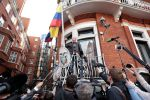 Media gathered in front of WikiLeaks founder Julian Assange at the Ecuadorian Embassy in London on May 19, 2017. (Jack Taylor/Getty Images)