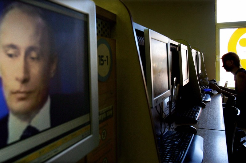 Russian President Vladimir Putin appears on a computer screen in an internet cafe in Moscow on July 6, 2006. (Denis Sinyakov/AFP/Getty Images)