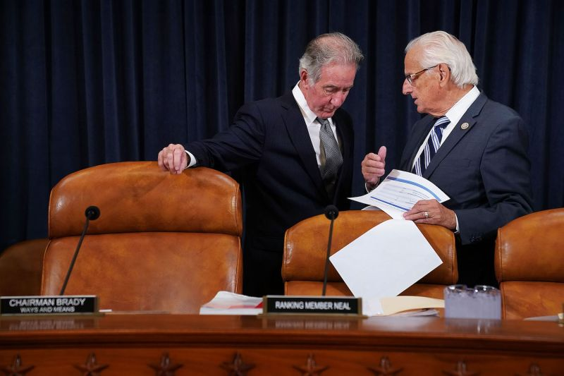 Reps. Richard Neal, left, and Bill Pascrell huddle on Capitol Hill in Washington on Nov. 6, 2017. (Chip Somodevilla/Getty Images)