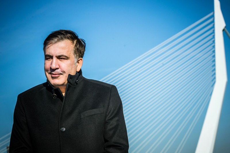 Former Georgian President Mikheil Saakashvili poses in front of the Erasmus Bridge in Rotterdam, Netherlands, on Feb. 14. (Rob Engelaar/AFP/Getty Images)