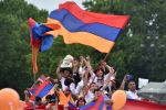 Supporters of Nikol Pashinyan celebrate his election as prime minister of Armenia in Yerevan's Republic Square on May 8. (Sergei Gapon/AFP/Getty Images)