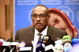 Sudanese Foreign Minister Al-Dirdiri Mohamed Ahmed gives a press conference in Khartoum on June 24. (Ashraf Shazly/AFP/Getty Images)