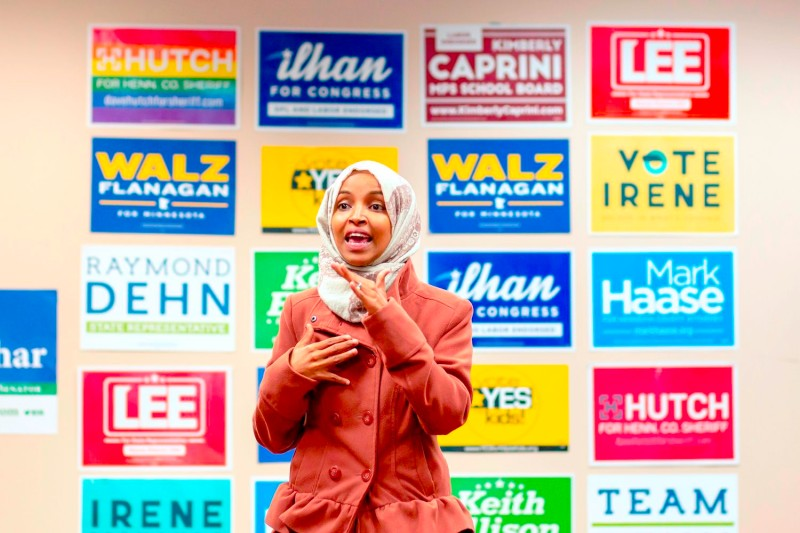 Democratic congressional candidate Ilhan Omar speaks to a group of volunteers in Minneapolis, Minnesota, on October 13, 2018.