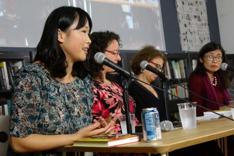 Joanna Chiu (left) speaking at the U.S. launch of NüVoices in New York on Nov. 1. (Jia Guo/SupChina)