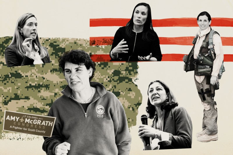 From left: Mikie Sherrill (D), candidate in New Jersey's 11th Congressional District; Amy McGrath (D), candidate in Kentucky's 6th District; Gina Ortiz Jones (D), candidate in Texas's 23rd District; Elaine Luria (D), candidate in Virginia's 2nd District; and Martha McSally (R), running for Senate from Arizona. (Mary Altaffer/AP/Alex Wong/Getty Images/Thomas McKinless/CQ Roll Call/Getty Images/Bill Clark/CQ Roll Call/U.S. Air Force/Foreign Policy illustration)