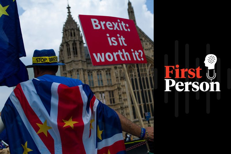 A man protests against Brexit outside the Houses of Parliament in London on July 5. (Dan Kitwood/Getty Images)