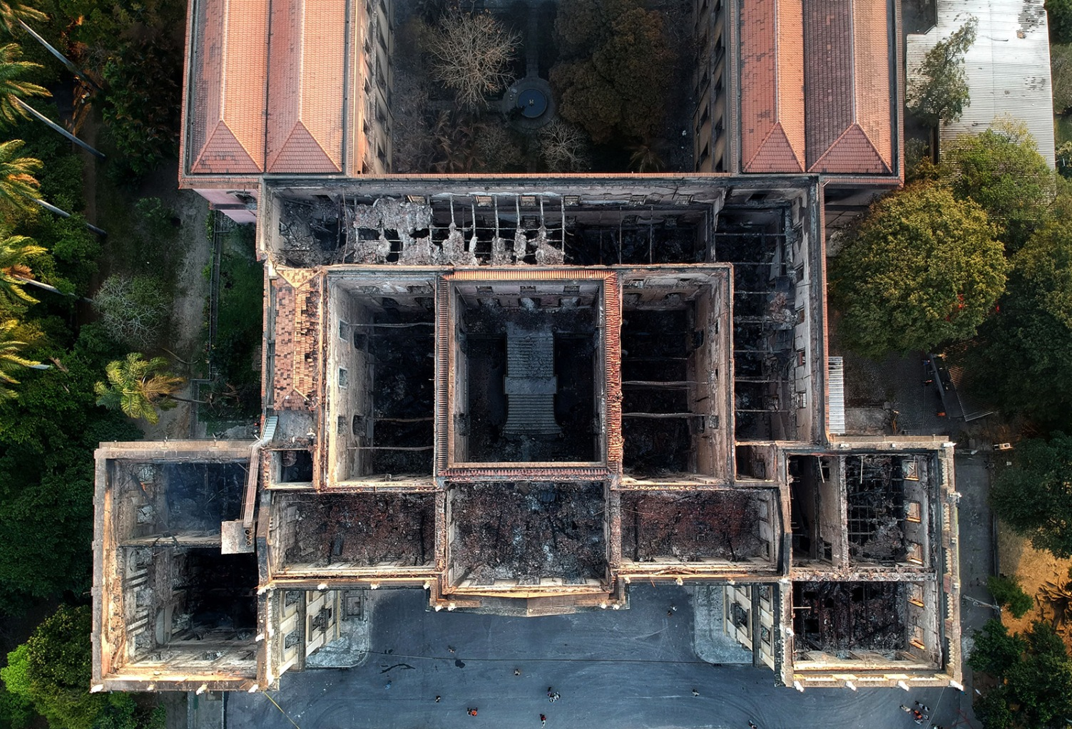 The interior of Rio de Janeiro's treasured National Museum, one of Brazil's oldest, is exposed on Sept. 3, a day after a massive fire ripped through the building and its artifacts. MAURO PIMENTEL/AFP/Getty Images