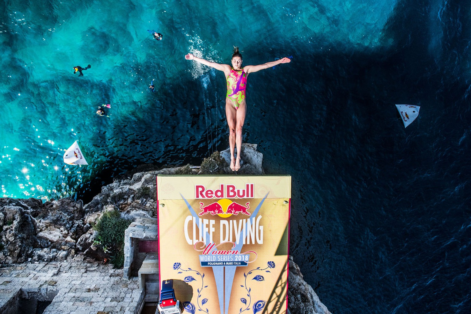 Yana Nestsiarava of Belarus dives from a platform during the first day of competition of the seventh and final stop of the Red Bull Cliff Diving World Series at Polignano a Mare, Italy, on Sept. 22. Romina Amato/Red Bull via Getty Images