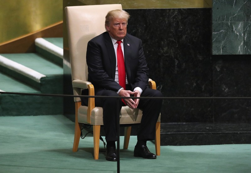 U.S. President Donald Trump prepares to address the 73rd session of the United Nations General Assembly in New York on Sept. 25. (John Moore/Getty Images)