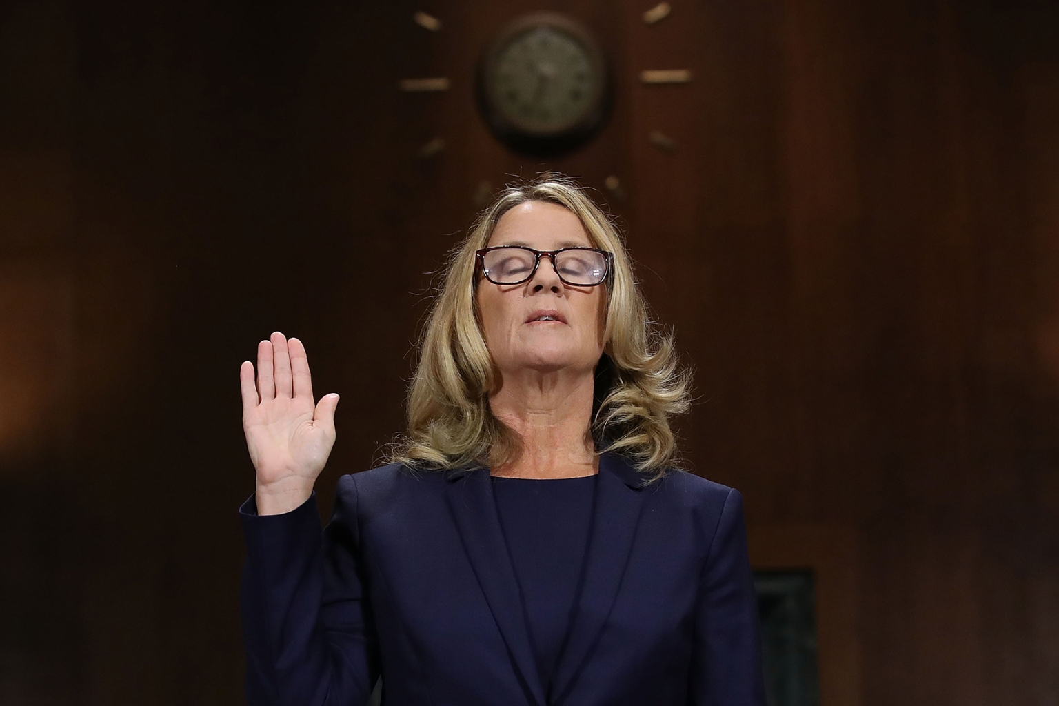 Christine Blasey Ford is sworn in before the Senate Judiciary Committee hearing on sexual assault allegations against Supreme Court nominee Brett Kavanaugh in Washington on Sept. 27. Win McNamee/Getty Images