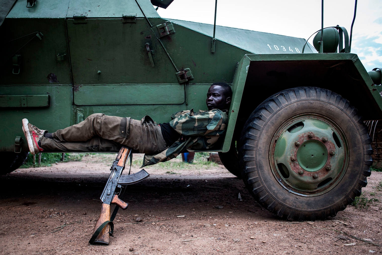A soldier from the Democratic Republic of the Congo is seen at a military base outside Oicha on Oct. 7. JOHN WESSELS/AFP/GETTY IMAGES