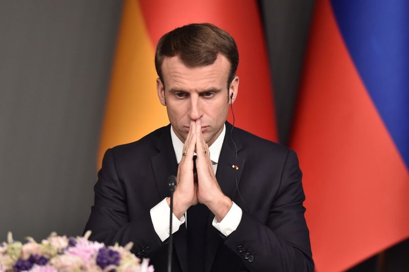 French President Emmanuel Macron at Vahdettin Mansion in Istanbul, on Oct. 27. (Ozan Kose/AFP/Getty Images)