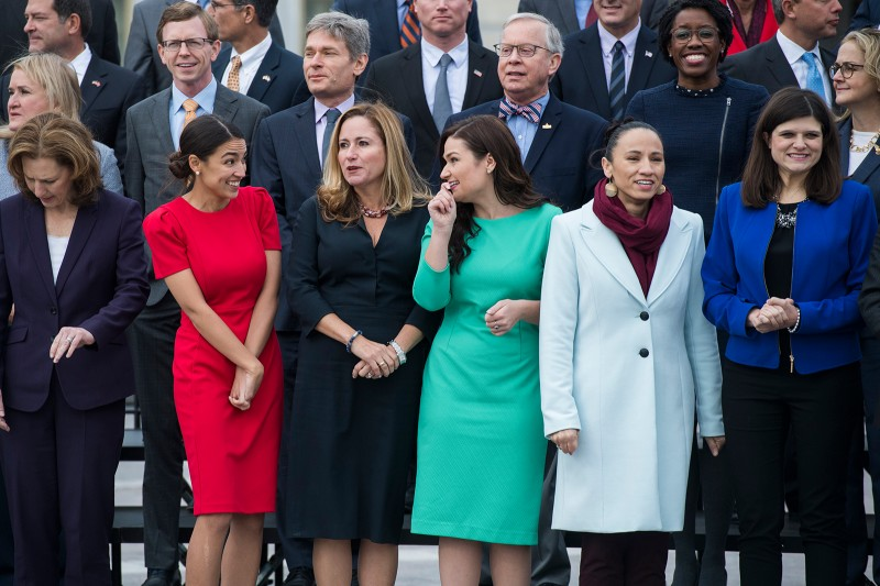 Voters elected a record number of women to the U.S. Congress in November, including, from left, Kim Schrier, D-Wash., Alexandria Ocasio-Cortez, D-N.Y., Debbie Mucarsel-Powell, D-Fla., Abby Finkenauer, D-Iowa, Sharice Davids, D-Kan., and Haley Stevens, D-Mich., seen during an incoming freshman class photo in Washington on Nov. 14. (Tom Williams/CQ Roll Call)